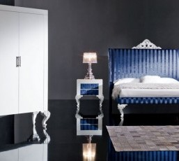 Minimal Baroque Blue Bedroom